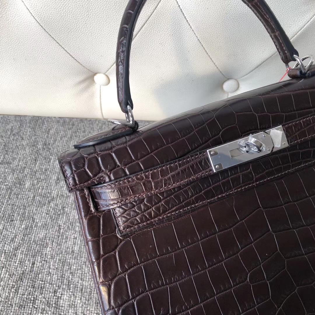 Hermès(爱马仕)Kelly 28cm Crocodile matt 雾面鳄鱼 巧克力色 咖啡色 银扣 顶级手缝