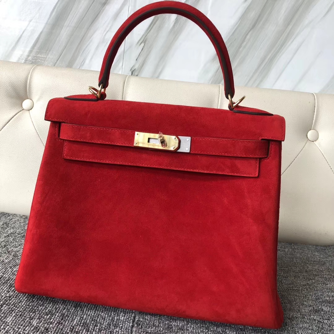 Hermès(爱马仕)kelly 28cm 麂皮 Q5 国旗红 rouge casaque 金扣 顶级手缝