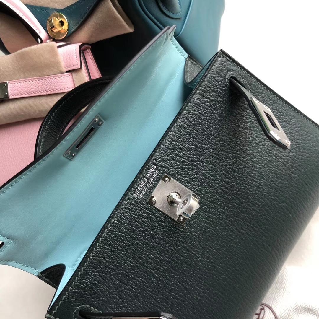 Hermès(爱马仕)Mini Kelly 2 山羊 6o 柏树绿 内拼圣西尔蓝 银扣 定制