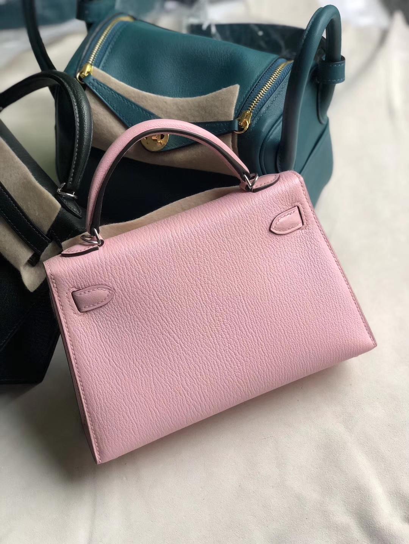 Hermès(爱马仕)mini kelly 山羊皮 3Q粉  芭比粉 银扣 定制