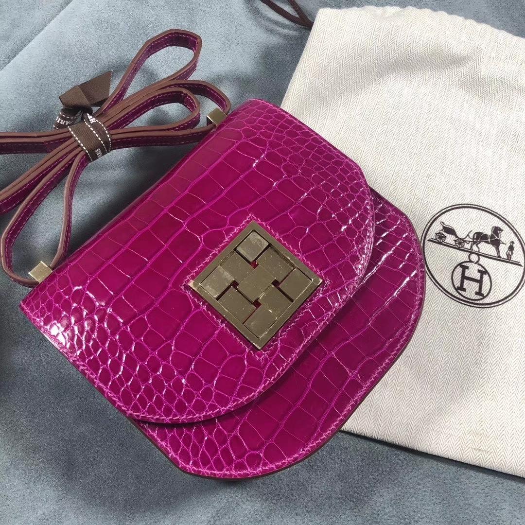 Hermès(爱马仕)马赛克 17cm Alligator shiny J5 天方夜谭粉紫 银扣 定制