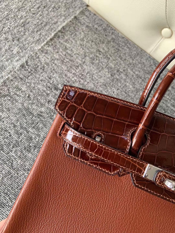 Hermès(爱马仕)Touch 系列 Birkin 25cm 山羊皮 ck31 蜜糖棕 拼鳄鱼蜜糖棕 银扣