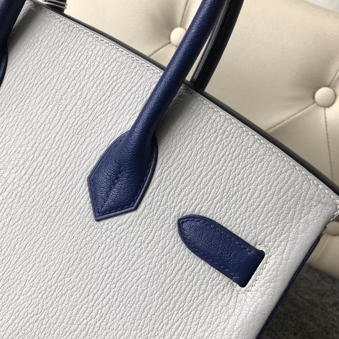 Hermès(爱马仕)Birkin 30cm 山羊皮  珍珠灰拼宝石蓝 银扣 马蹄印 定制
