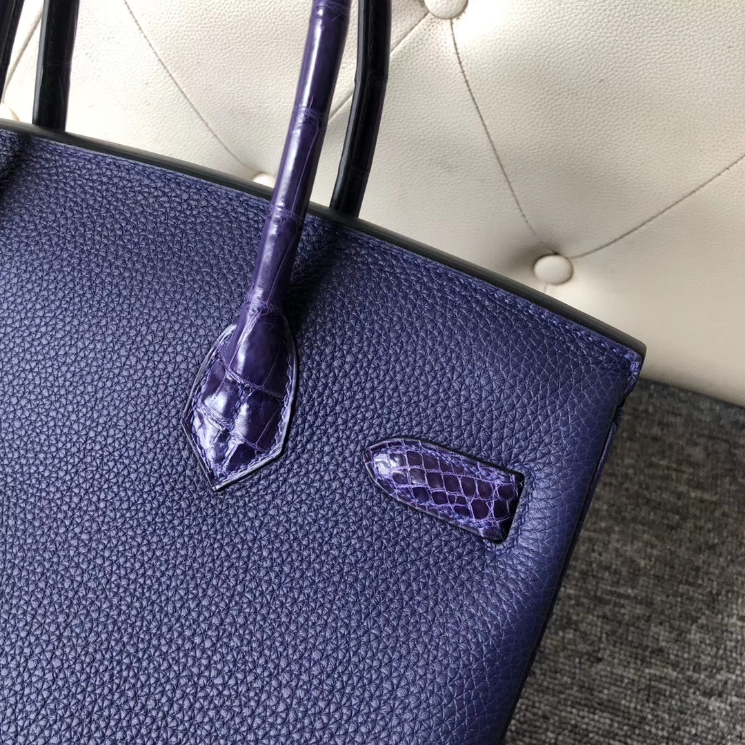 Hermès(爱马仕)Touch 系列 Birkin 30cm 墨水蓝拼鳄鱼 银扣 顶级手缝 定制