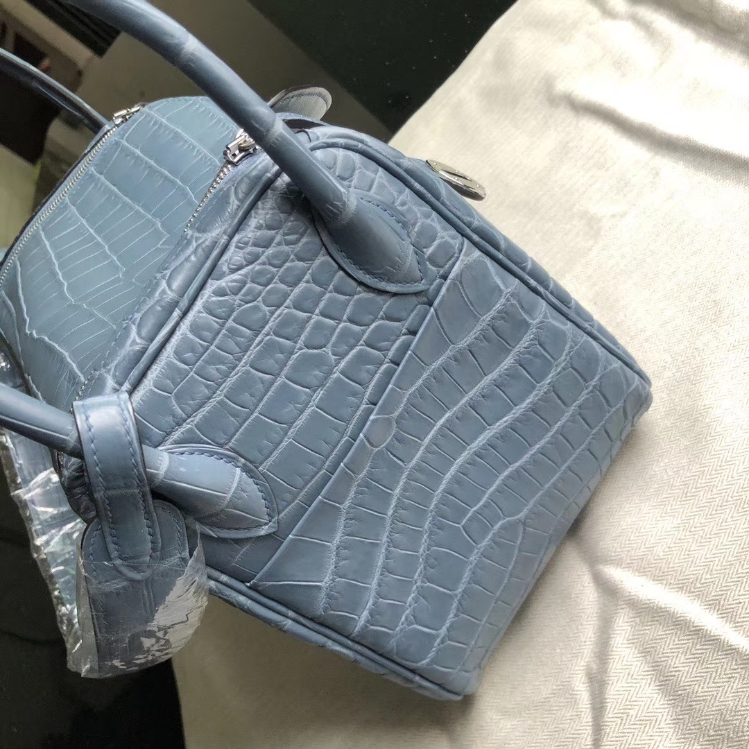 Hermès(爱马仕)Lindy 26cm Crocodile matt 雾面鳄鱼 雾霾蓝 金扣 顶级手缝 定制
