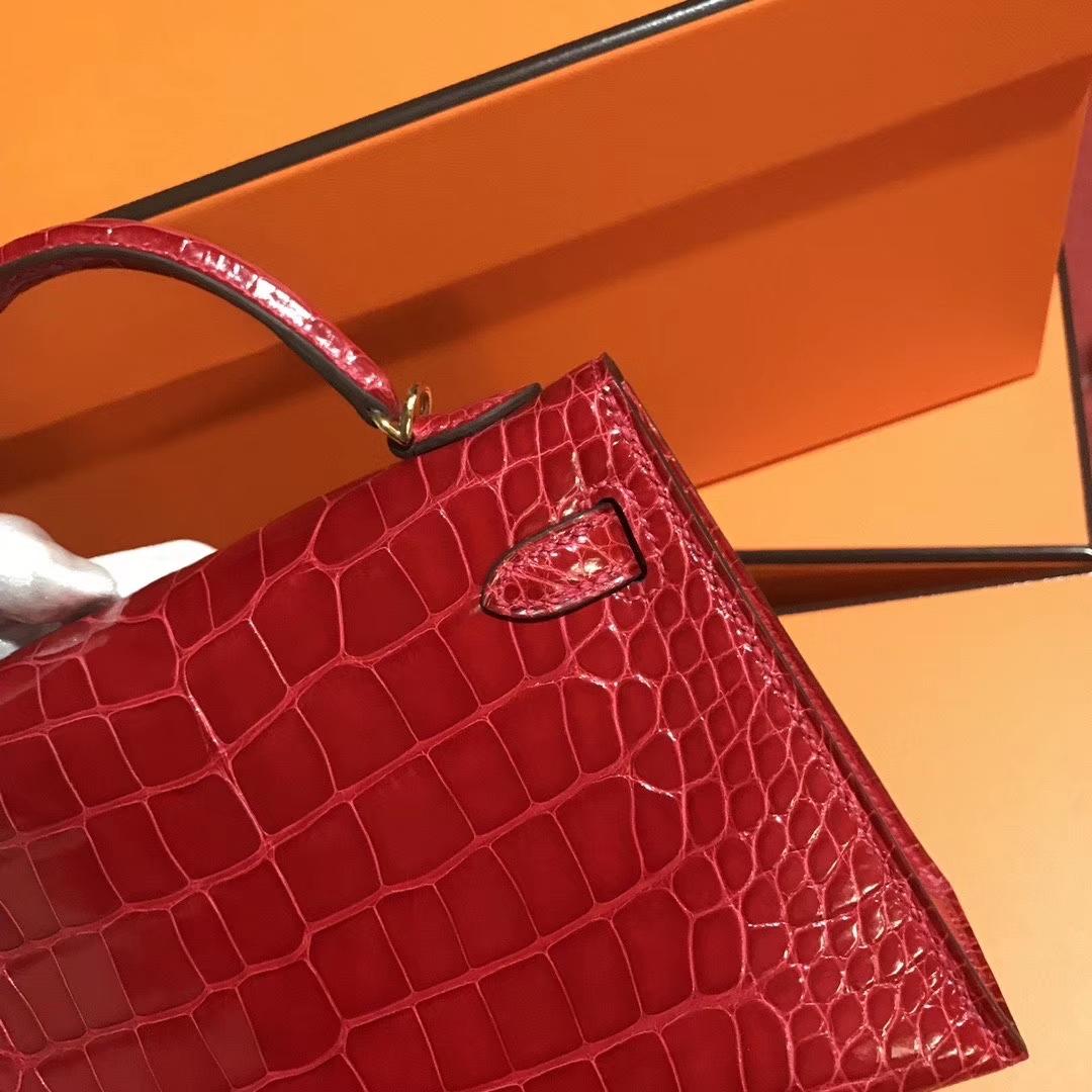 Hermès(爱马仕)Mini kelly ll Alligator shiny 亮面鳄鱼 ck 95 法拉利红 Braose 金扣 现货