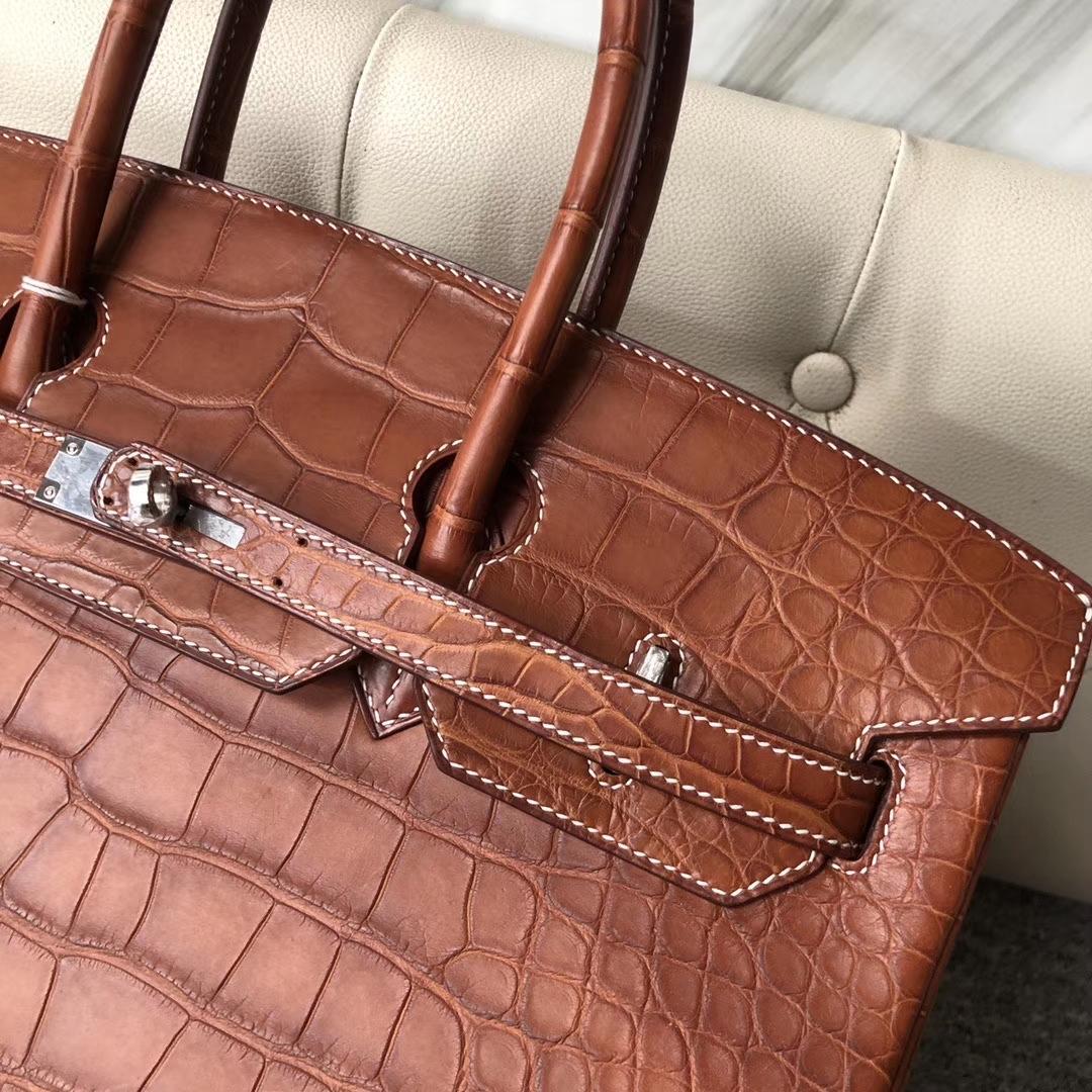 Hermès(爱马仕)Birkin 35cm Alligator matt 雾面鳄鱼 棕色 白色线 银扣 顶级手缝 定制