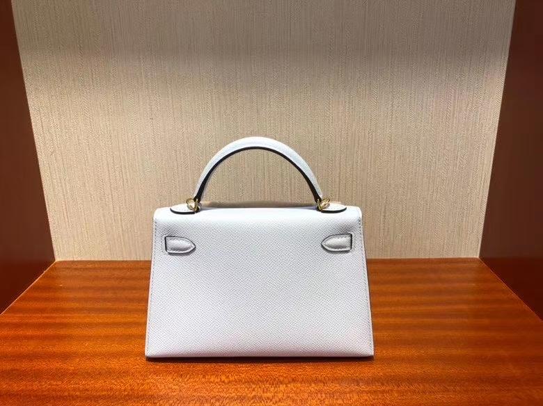 Hermès(爱马仕)Mini kelly ll Epsom 原厂掌纹皮 T0 雾蓝色 金扣 顶级手缝