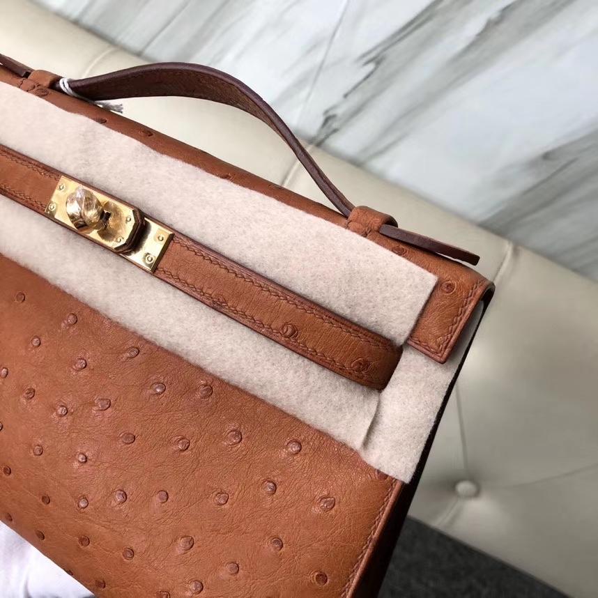 Hermès(爱马仕)Mini kelly pochtte 22cm Ostrich kk 鸵鸟 ck37 金棕色 Gold 金扣 顶级手缝 现货
