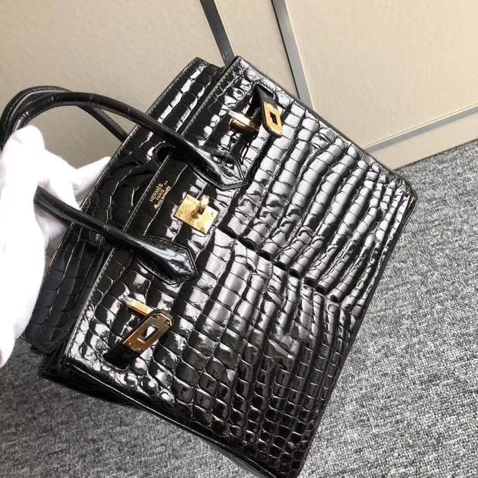 Hermès(爱马仕)Birkin 25cm Crocodile shiny 亮面鳄鱼 ck89 黑色 金扣 顶级手缝 现货