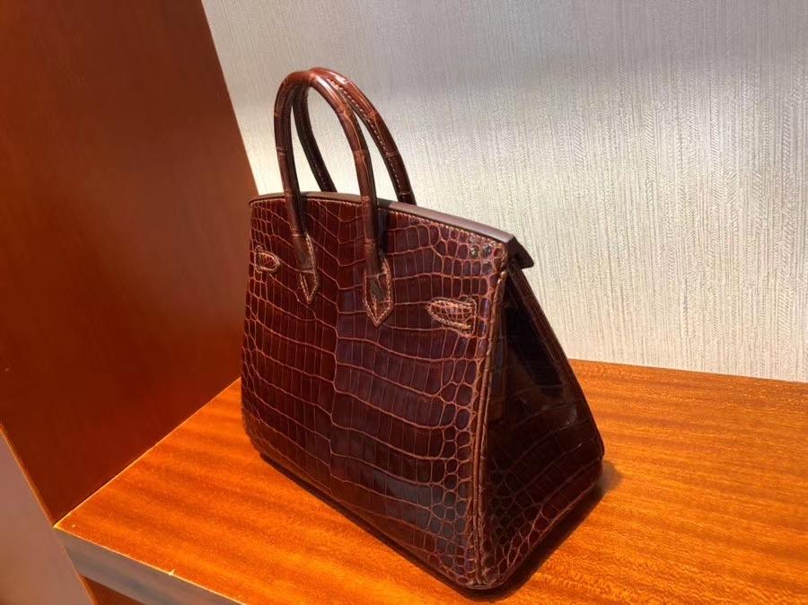 Hermès(爱马仕)Birkin 25cm Crocodile shiny 亮面鳄鱼 ck31 蜜糖棕 Miel 金扣 顶级手缝