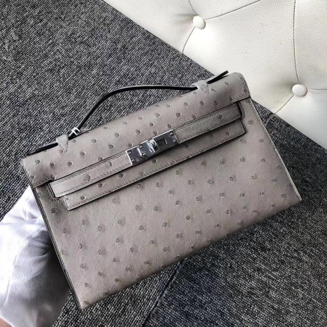 Hermès(爱马仕)Mini Kelly 22cm kk ostrich 顶级鸵鸟皮 冰川灰 蜡线全缝 银扣