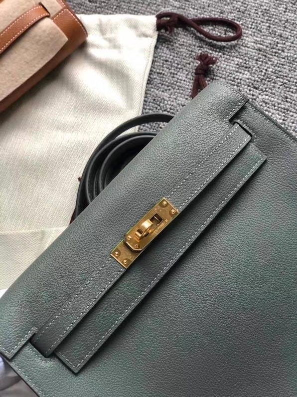 Hermès(爱马仕)kelly danse evecolor 杏绿色 swift皮 金扣 顶级手缝