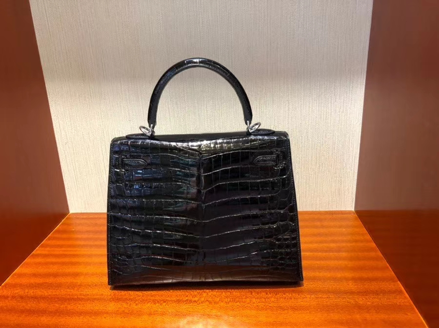 Hermès(爱马仕)Kelly 25cm Crocodile shiny 亮面鳄鱼ck89 黑色 Noir 银扣 现货