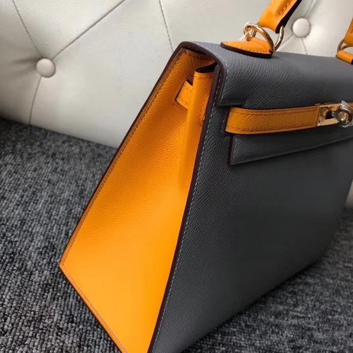 Hermès(爱马仕)Kelly 25cm Epsom 原厂掌纹皮 4Z 海鸥灰拼9v 太阳黄 金扣 马蹄印 顶级手缝