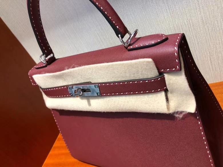 Hermès(爱马仕)限量款 Kelly 新皮种 Graine Monsieur ck55爱马仕红 Rouge H 红白双线 银扣 外缝 28cm