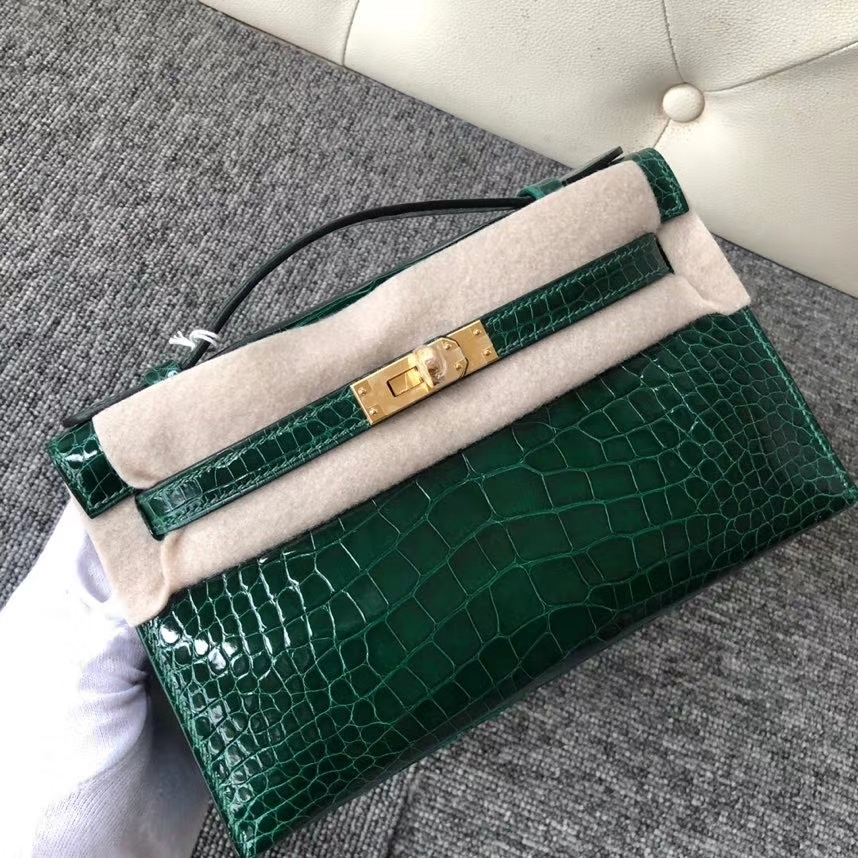 Hermès(爱马仕)Mini kelly pochette 22cm Alligator shiny 亮面鳄鱼 ck67 祖母绿 金扣