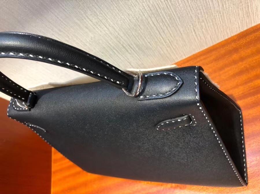 Hermès(爱马仕)限量款 Kelly 新皮种 Graine Monsieur ck89 黑色 Noir 银扣 黑白双线 外缝 28cm
