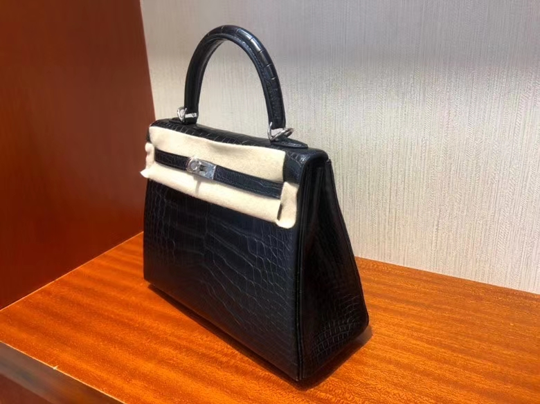 Hermès(爱马仕)Kelly 25cm Alligator matt 雾面鳄鱼 ck89 黑色 Noir 银扣 顶级手缝 现货