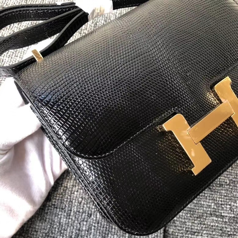Hermès(爱马仕)Constance18cm Lizard 进口亮面蜥蜴 ck89 黑色 Noir 金扣 顶级手缝 定制