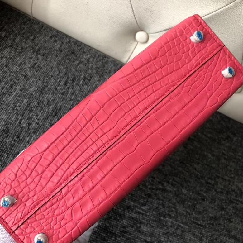 Hermès(爱马仕)Mini Kelly ll Alligator matt 雾面鳄鱼 A5 杜鹃红 银扣 顶级手缝 定制