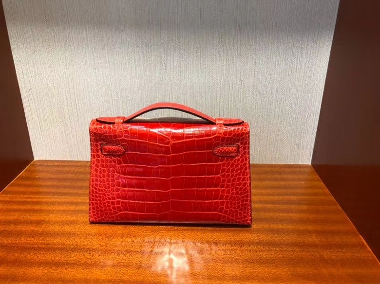 Hermès(爱马仕)Mini kelly Pochette 22cm Alligator shiny S3 心红色 金扣 顶级手缝 定制