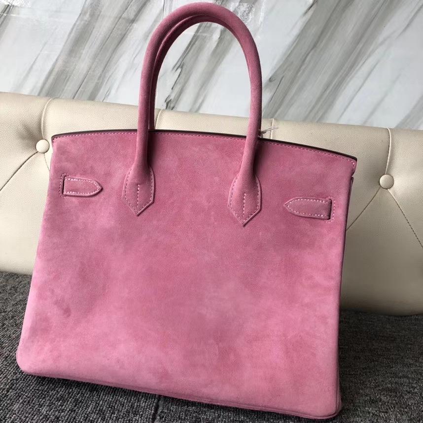 Hermès(爱马仕)Birkin 铂金包 麂皮 粉色 银扣 30cm 顶级手缝 定制