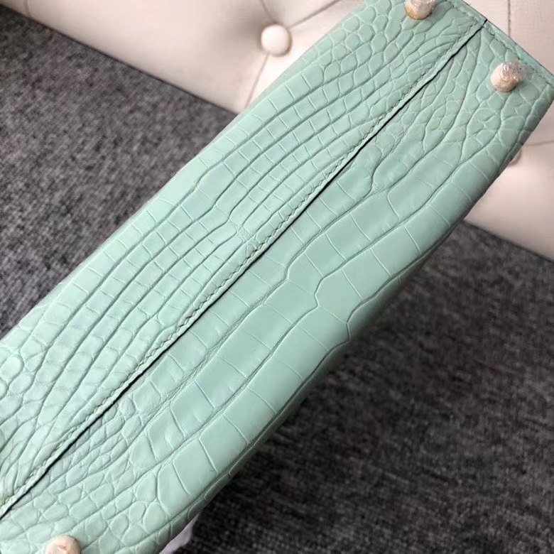 Hermès(爱马仕)Mini Kelly ll Alligator matt 雾面鳄鱼 6U 薄荷绿 金扣 顶级手缝 定制