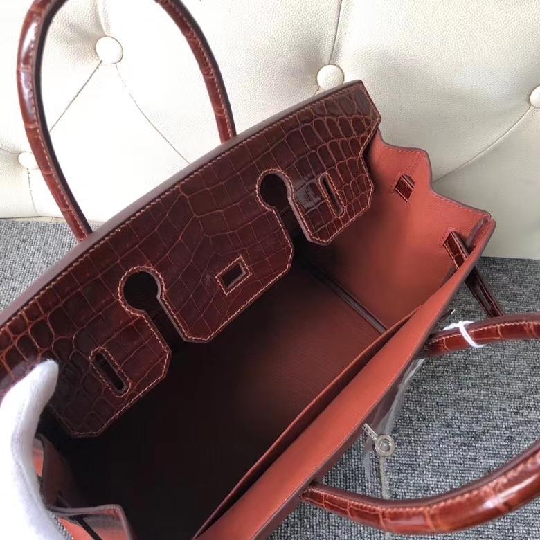 Hermès(爱马仕)Birkin 铂金包 蜜糖棕 山羊皮拼鳄鱼皮 银扣 30cm 顶级手缝 定制
