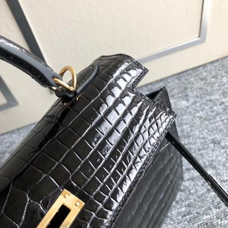 Hermès(爱马仕)Kelly 25cm Crocodile shiny 亮面鳄鱼 ck89 黑色 Noir 金扣 顶级手缝