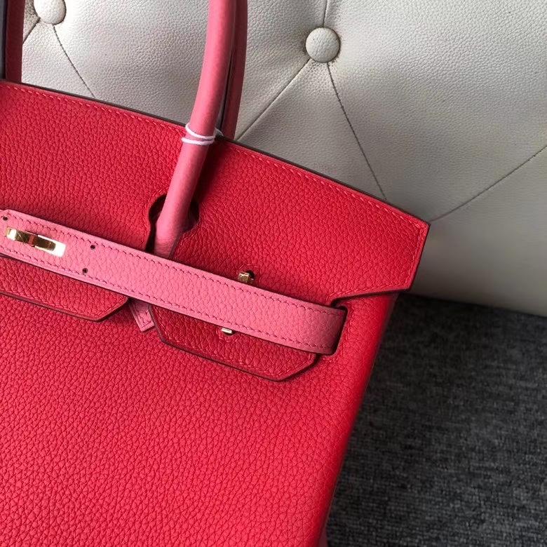 Hermès(爱马仕)Birkin 30cm 原厂小牛皮 S3 心红色 拼 8w 唇膏粉 金扣 马蹄印