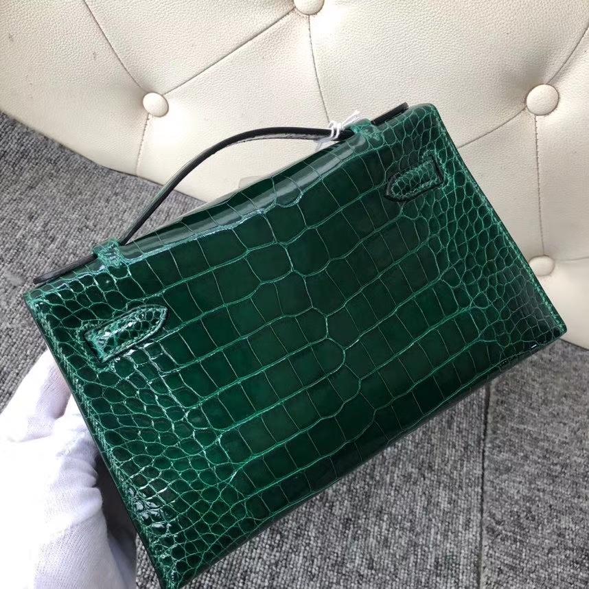 Hermès(爱马仕)Mini kelly pochette 22cm Alligator shiny 亮面鳄鱼 ck67 祖母绿 银扣