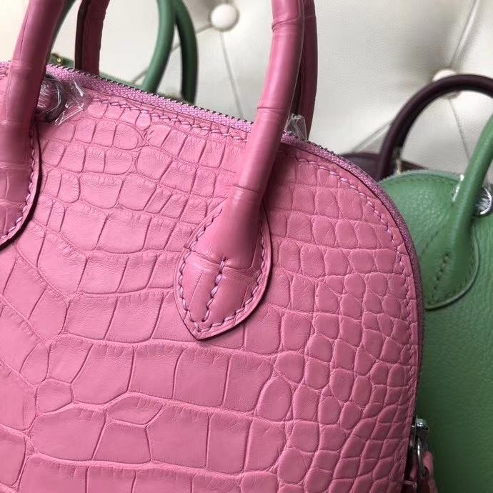 Hermès(爱马仕)Mini Bolide 雾面鳄鱼 樱花粉 顶级手缝 小可爱 现货
