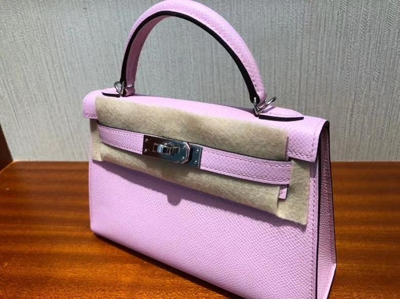 Hermès(爱马仕)Mini kelly ll Epsom 原厂掌纹皮 x9 锦葵紫 银扣 顶级手缝