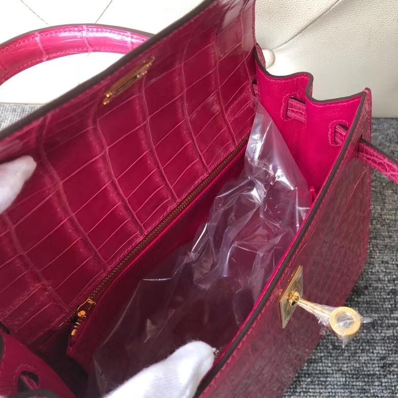 Hermès(爱马仕)Kelly 凯莉包 Crocodile shiny 亮面鳄鱼 J5 天方夜谭粉紫 金扣 25cm 顶级手缝