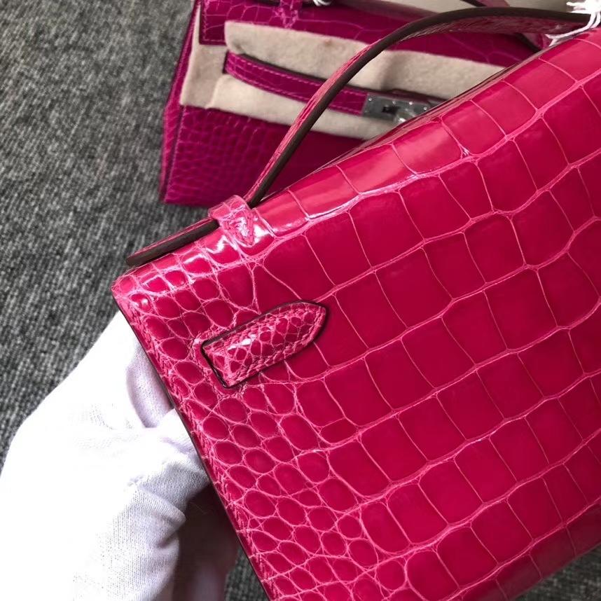 Hermès(爱马仕)Mini kelly pochette 22cm Alligator shiny 亮面鳄鱼 E5 桃红 金扣 现货