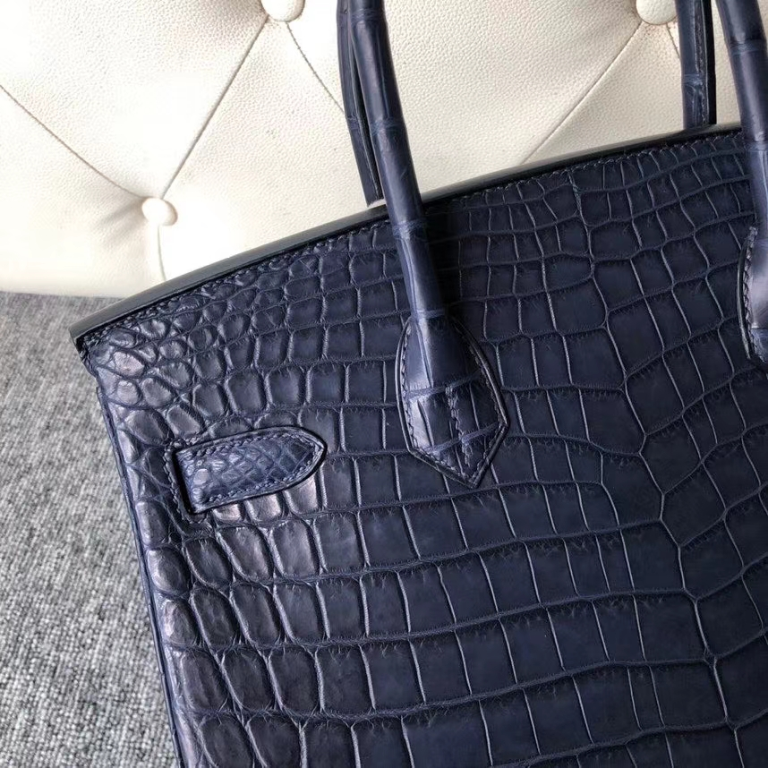 Hermès(爱马仕)Birkin 30cm Crocodile matt 雾面鳄鱼 73 深海蓝 银扣 顶级手缝 定制