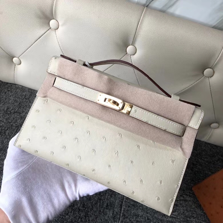 Hermès(爱马仕)Mini kelly pochtte 22cm Ostrich kk 鸵鸟 3C 羊毛白 金扣 顶级手缝 现货