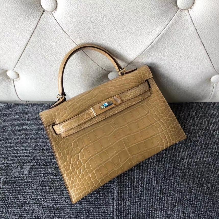 Hermès(爱马仕)Mini kelly ll Alligator shiny 亮面鳄鱼 1C 杏色 奶茶色 金扣 顶级手缝