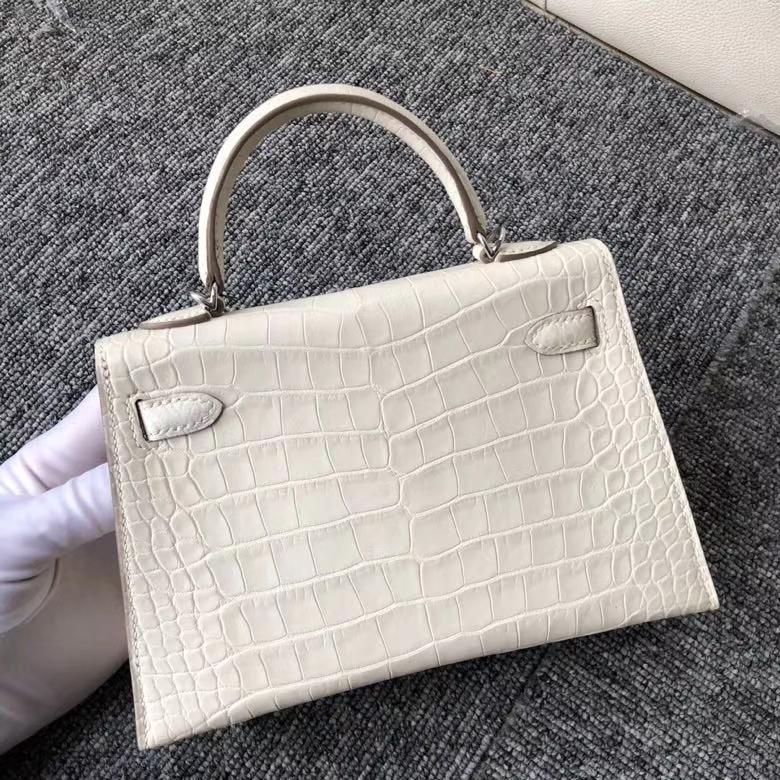 Hermès(爱马仕)Mini kelly ll Alligator matt 雾面鳄鱼 8L 奶油白 银扣 顶级手缝
