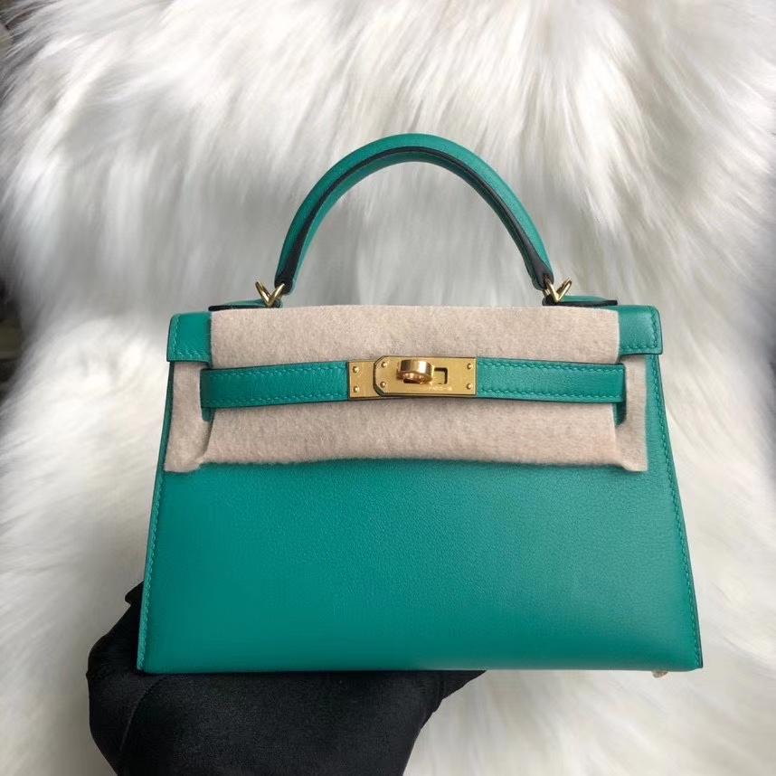 Hermès(爱马仕)Minikelly ll Swift 7F 孔雀蓝 金扣 顶级手缝