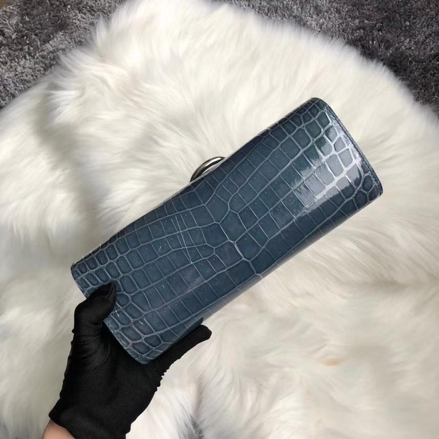 Hermès(爱马仕)亮面鳄鱼 ck75 牛仔蓝 Blue jean 银扣 顶级手缝 手拿包 晚宴包