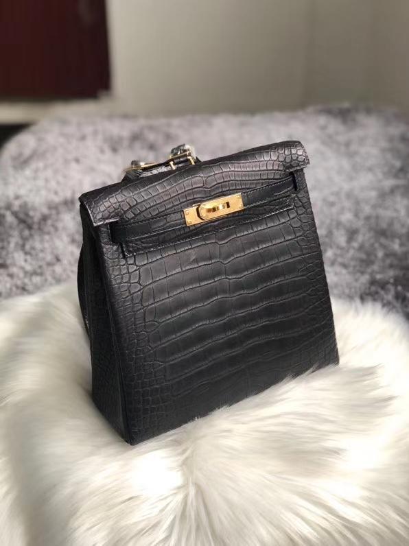 Hermès(爱马仕)Kelly ado Alligator matt 雾面鳄鱼 ck89 黑色 Noir 金扣 22cm