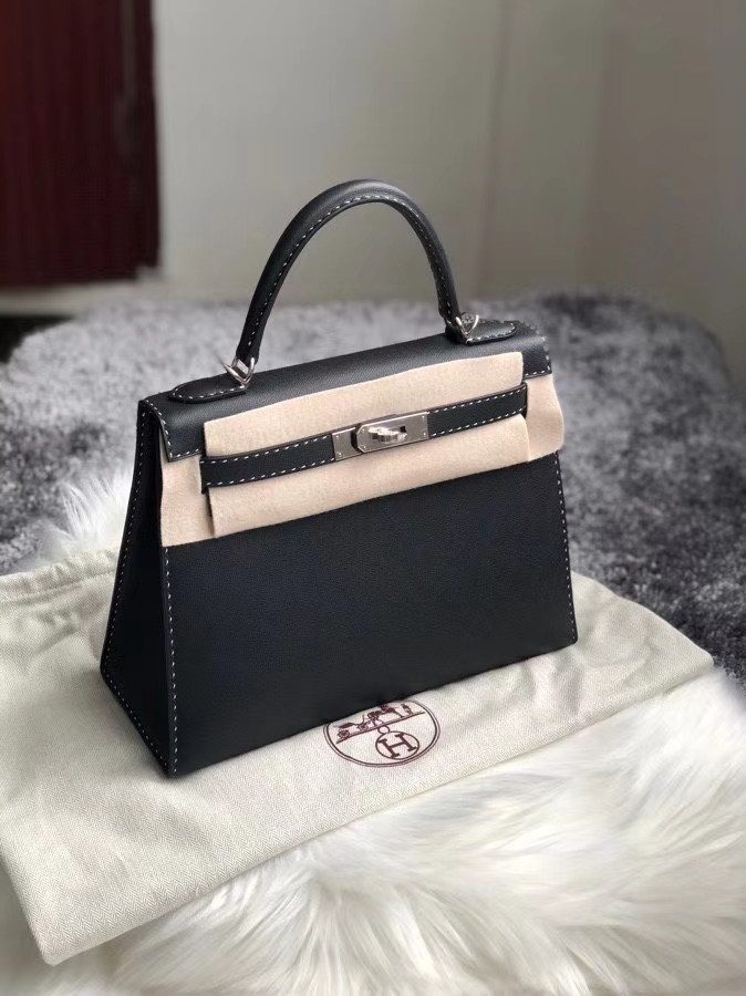 Hermès(爱马仕)Kelly 28cm GM 皮 ck89 黑色 Noir 银扣 顶级手缝 定制