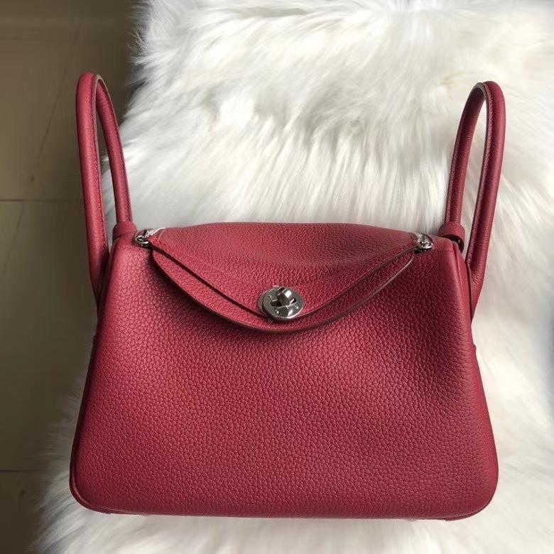 Hermès(爱马仕)Lindy 26cm Tc 皮 k1 石榴红 rouge grenat 银扣 顶级手缝