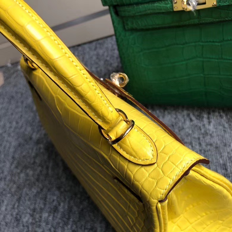 Hermès(爱马仕)Kelly 25cm Alligator matt 雾面鳄鱼 m9 金盏花黄 金扣 顶级手缝 现货