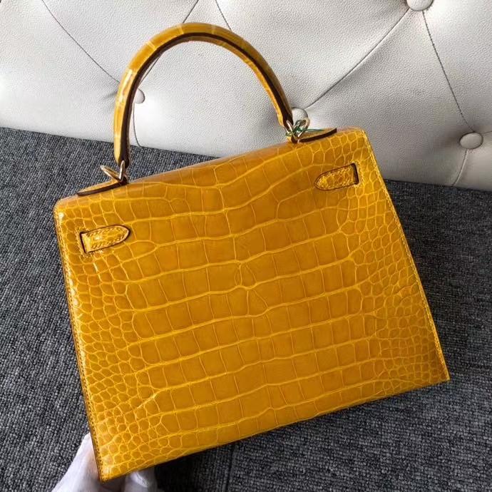 Hermès(爱马仕)Kelly 25cm Alligator shiny 亮面鳄鱼 9D 琥珀黄 Ambre 金扣 顶级手缝 现货