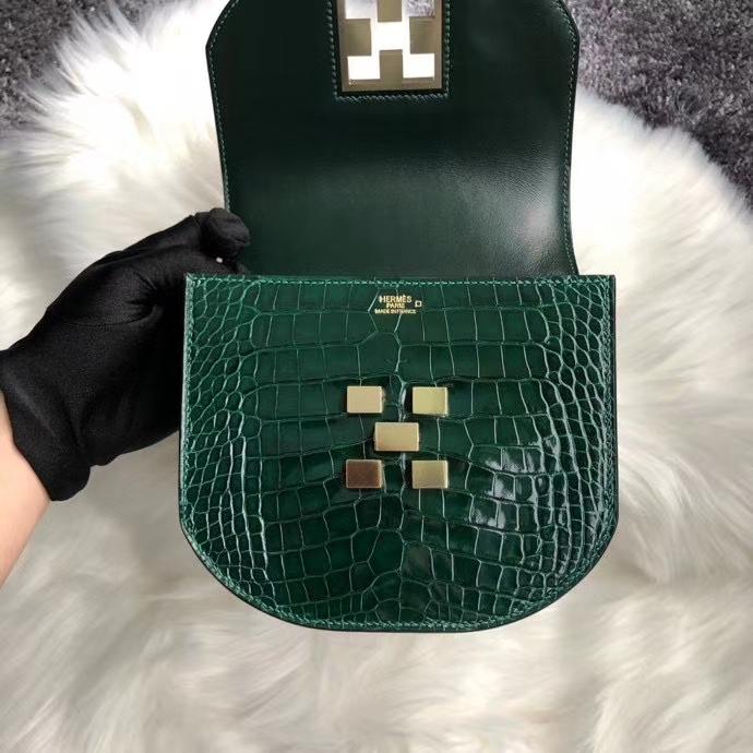 Hermès(爱马仕)马赛克17cm Alligator shiny 亮面鳄鱼 ck67 祖母绿 vert fonce 金扣 定制
