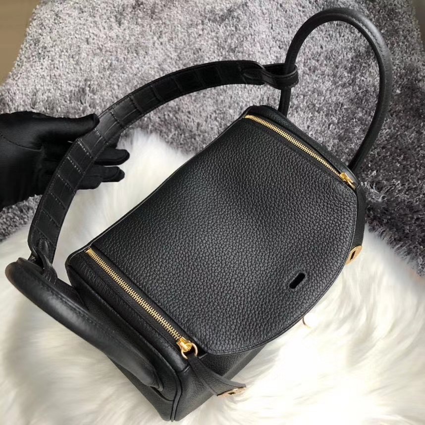 Hermès(爱马仕)Lindy 26cm ck89 黑色 Noir 拼 手腕鳄鱼 金扣 顶级手缝 定制