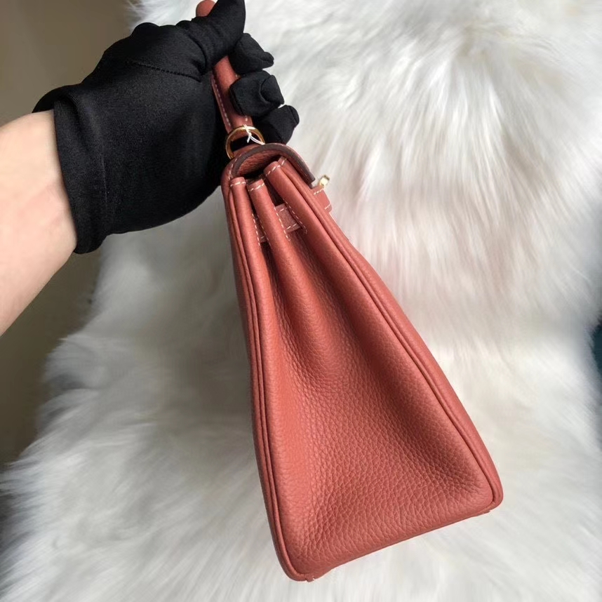 Hermès(爱马仕)Kelly 25cm 原厂小牛皮 togo  4E 枫叶棕 金扣 顶级手缝 超美现货